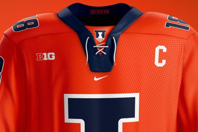 """Potential Illinois D1 uniforms with B1G logo near shoulder, block """"I"""" centered on the front."""