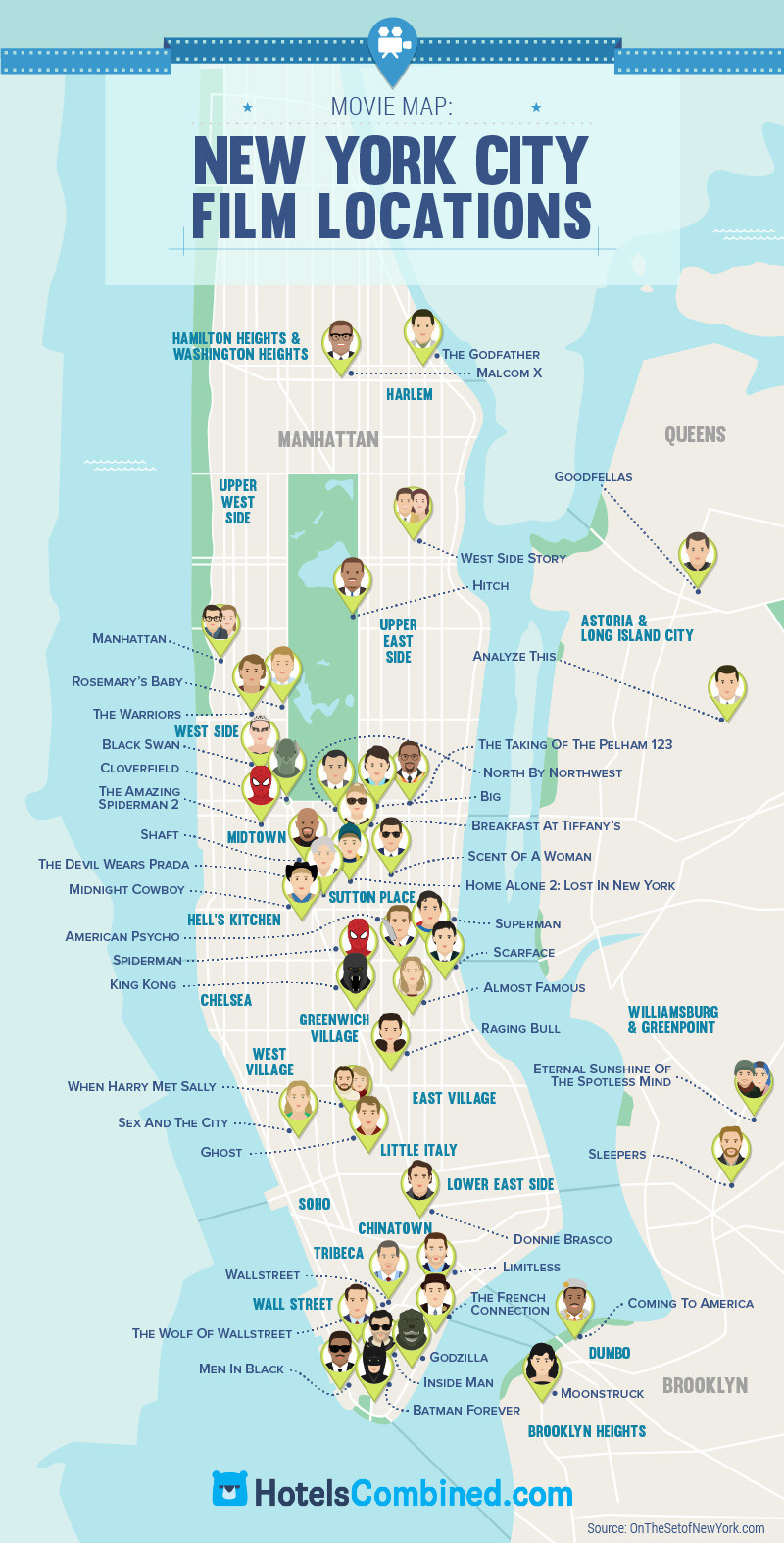 Map Of New York City With Landmarks.Mapping Nyc Landmarks And Hotels Information Visualization