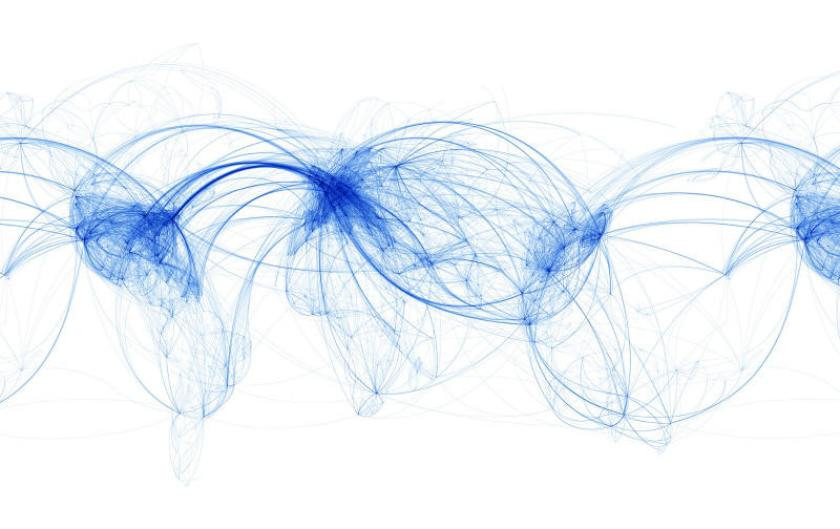 A network map of air routes worldwide