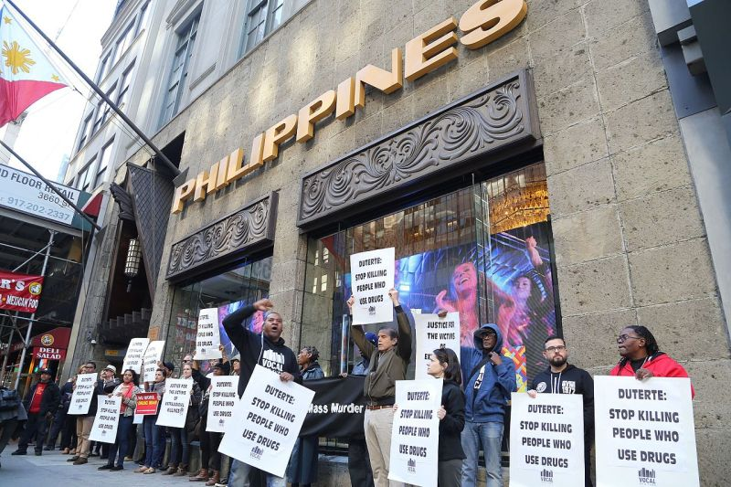 Protest against the Philippine war on drugs at the Philippines Consulate General in New York City.