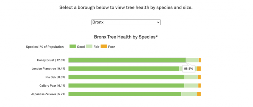 A horizontal stacked bar graph showing tree health by species, with tooltips