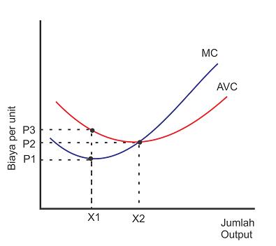 Kurva hubungan biaya marginal - marginal cost dengan biaya variabel rata-rata - average variable cost