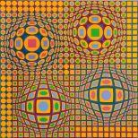 Victor Vasarely, Quadrature, Estampe originale, 78x78 cm