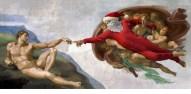 """Ed Wheeler revisite la plus célèbre fresque de la Chapelle Sixtine, """"La Création d'Adam"""" de Michel-Ange."""