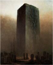 Dans cette peinture, ne croirait-on pas reconnaître le Grand Monolithe Noir de La Planète des Singes ?