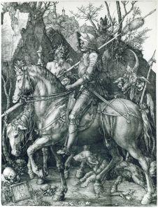 Albrecht Dürer, Le Chevalier, la Mort et le Diable, 1513, Gravure sur cuivre, 24,4 × 18,8 cm, Staatliche Kunsthalle Karlsruhe, Allemagne.