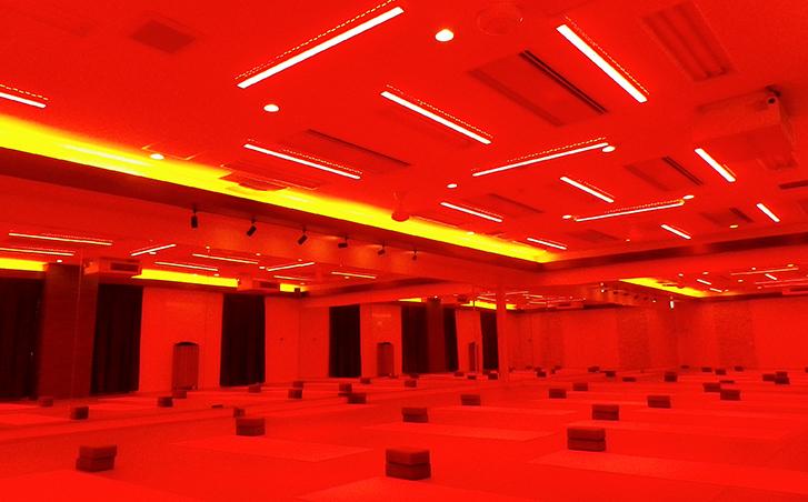 コラーゲントリートメントランプを天井全面に設けた、室温32~36℃・湿度60%のスタジオ