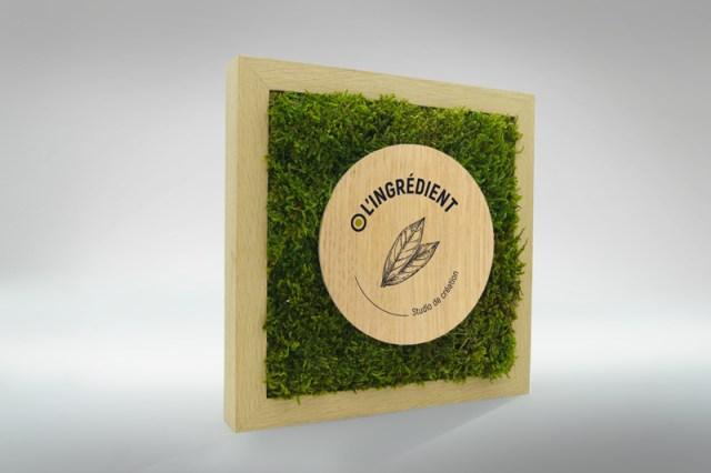 Création d'un trophée végétale unique, personnalisation par impression numérique logo, événement responsable, trophées en bois et mousse végétale france