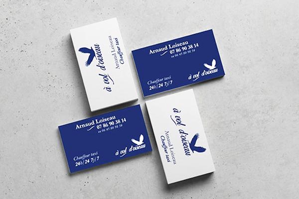 Création cartes de visite, graphisme print, nouveau logo et carte graphique bleu et blanche avec oiseau, fond beton, créateur d'identité