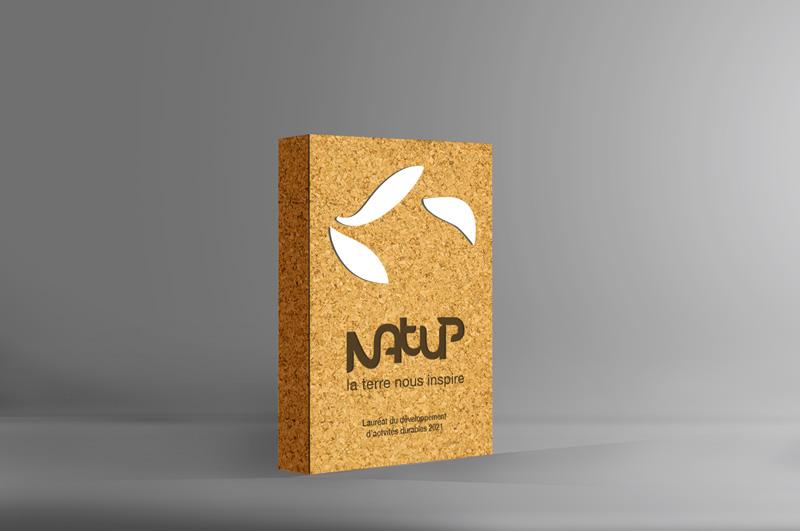 Trophée rectangulaire, forme classique en liège, design de trophée personnalisé, trophée éco-responsable, couleurs naturelles