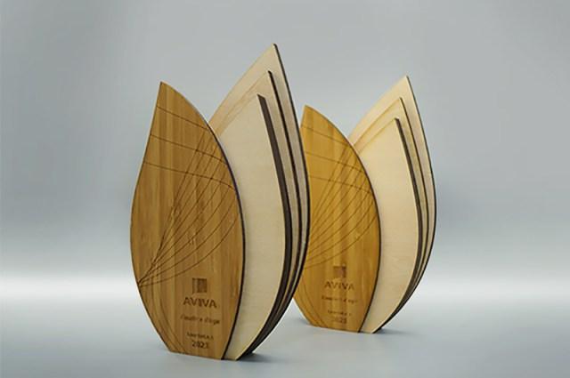 Création de trophées entreprise engagé, fabrication en bois, gravure et découpe laser avec le logo Aviva, Artisanat Eco-responsable