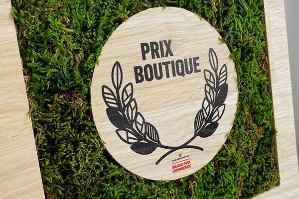 trophée végétal en zoom, mousse et bois, prix boutique, forme carré, studio l'ingrédient