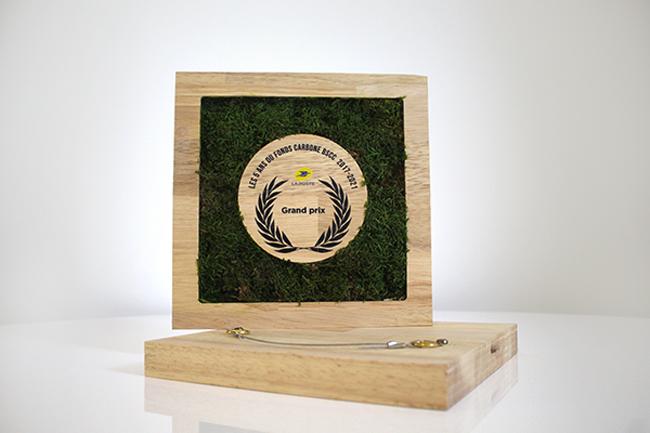 Cadre végétal décoratif pour entreprise, personnalisation couleur du logo sur la face avant du trophée, trophée végétal pour la Poste, Design by Studio L'ingrédient