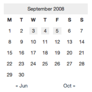 Simple calendar styles using CSS package