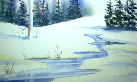 Watercolor lesson on painting evergreen trees