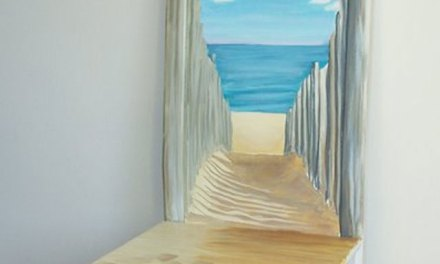 Next Step In Seascape Painting on a wood Chair