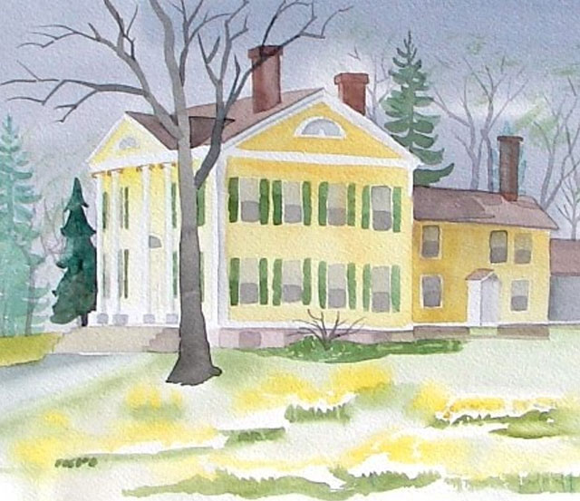 Next Step In Painting a Watercolor of the Florence Griswold Museum in Old Lyme, CT