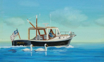 """New P.J. Cook Marine Oil Painting For Sale """"Puffin"""" Boat With Swans"""