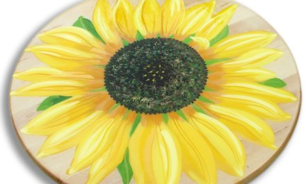 Sunflower Painting On a Wood Lazy Susan – makes a great gift for the holiday's