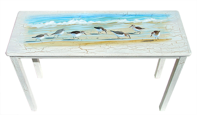Beach Cottage Furniture – Sandpiper Birds Painted on a Sofa Table