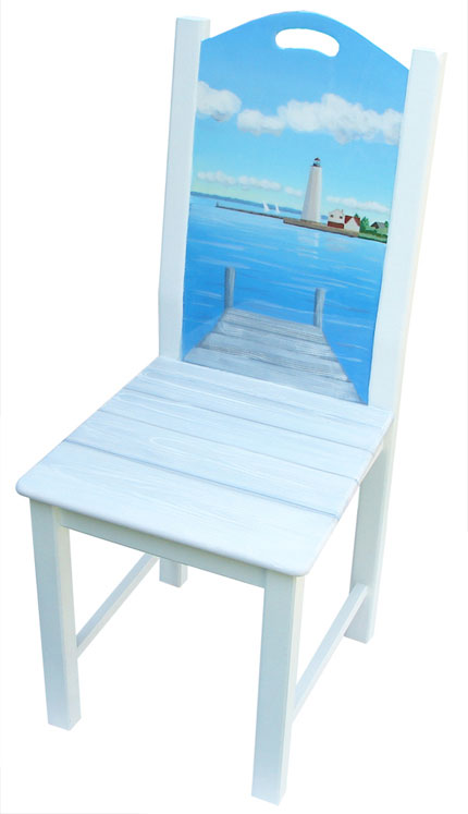hand painted lighthouse chair
