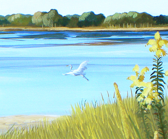 "Seascape ""The Shore Path"" – Final Step was adding Great Egrets"