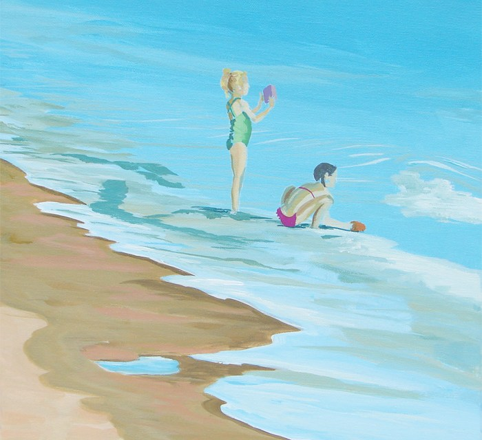 Next Step in Seascape Painting of Two Girls Playing at the Beach