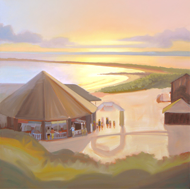 Oil Painting of the Carousel and Napatree Point in Watch Hill, Rhode Island In Progress – Follow Along