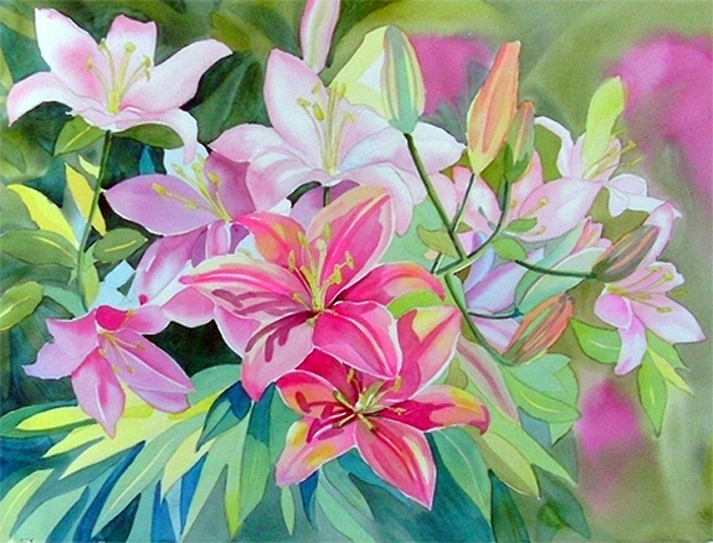 Next Step In Lily Flower Watercolor, Painting the Background