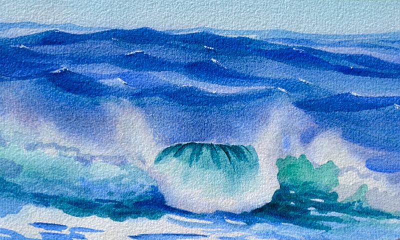 Ocean Wave III – New Watercolor In Breaking Ocean Wave Series