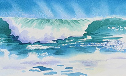 New Watercolor Painting of Ocean Waves With Wind Blown Spray
