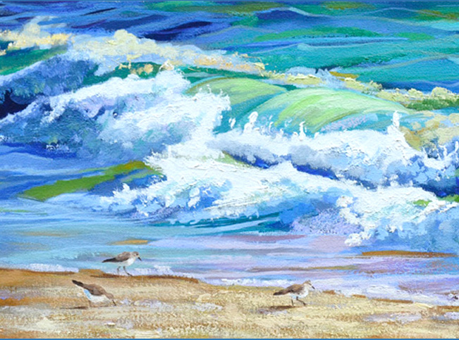 Breaking Wave IV Oil Painting With Sandpipers Finished!