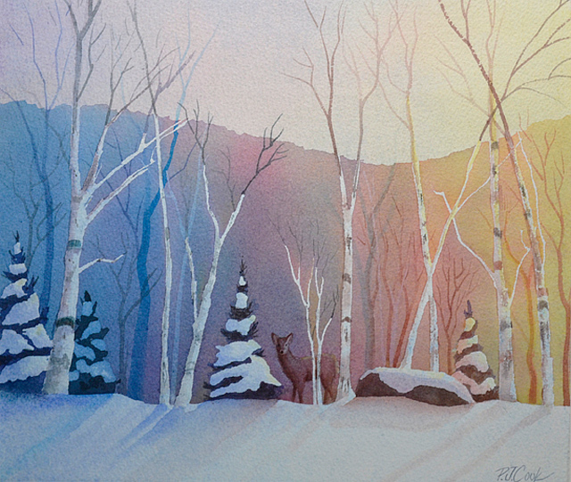 """Winter Light"" Watercolor of a Snow Scene with Deer"