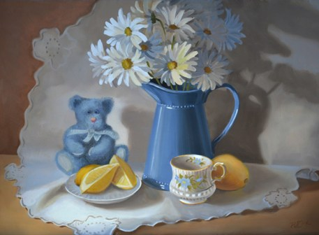 still life oil painting of daisy's and lemons