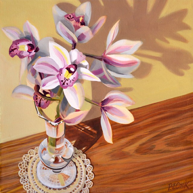 """Orchids"" Original Oil Painting – Still Life With Flowers"