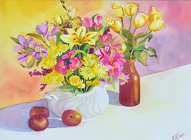 """""""Luminous"""" Latest Watercolor of a Colorful Floral Painting"""