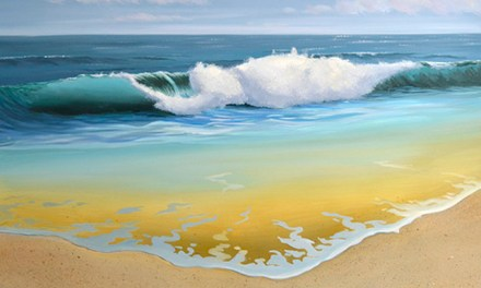 4th Step In Painting a Breaking Ocean Wave In Oil Paint