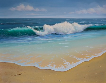 ocean wave with sandy beach oil painting by PJ Cook