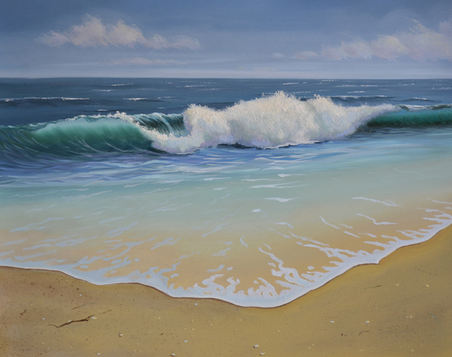 Final Details Ocean Wave Seascape Oil Painting