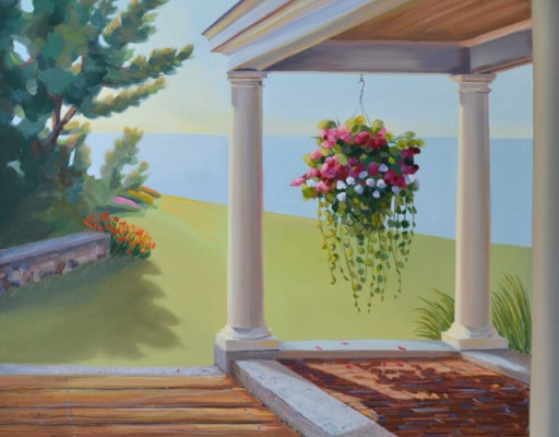 5th step in Seaside porch with flowers landscape painting by artist P.J. Cook