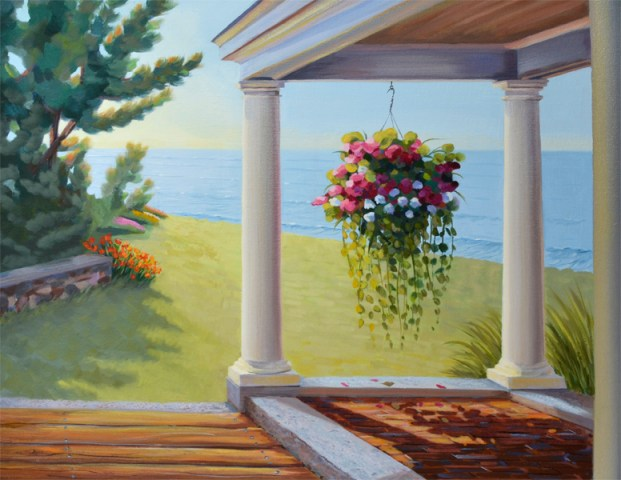 flowers on a porch overlooking the ocean oil painting