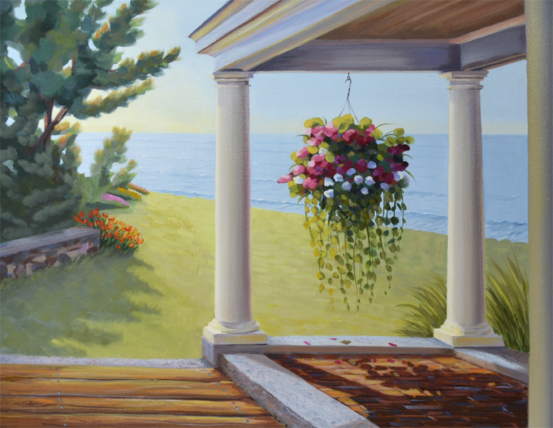 Flowers on a Porch Overlooking the Ocean