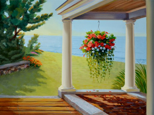 oil painting of pretty hanging flowers