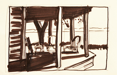 marker sketch for oil painting of a porch overlooking the ocean