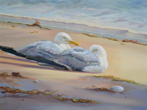 """""""After the Storm"""" oil painting of two seagulls resting on beach"""