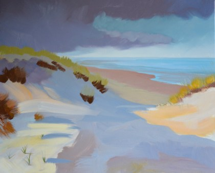 early stages of beach dune oil painting
