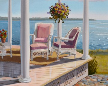 landscape oil painting of porch overlooking the ocean