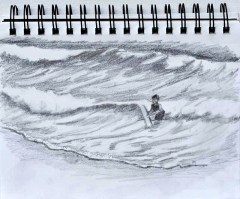 pencil sketch of boy in the surf at the beach