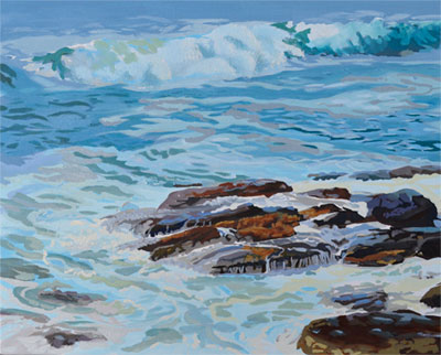 ocean wave painting started oil paint on canvas