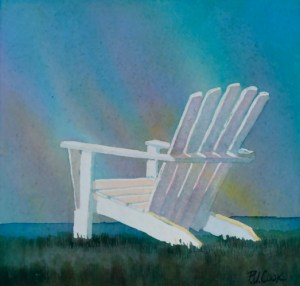 Northern Lights original watercolor painting of a adirondack chair